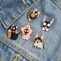 Lovely Animals Anime black cats gigi Cartoon Brooch Enamel Pins Bag Lapel Badge