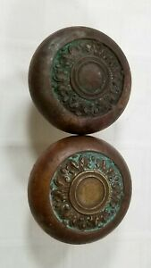 Antique Door Hardware TWO METAL KNOBS Mission Style ARTS & CRAFTS Copper