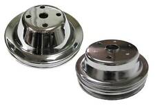 Small Block Chevy 1 / 2 Groove Chrome Steel Water Pump Crank Pulley Long Pump