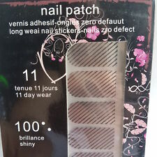 16 Metallic Silver Nail Patch Foils with Black Line Design