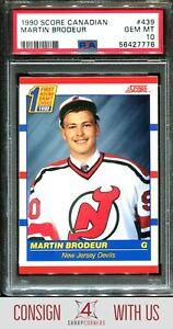 1990 SCORE CANADIAN #439 MARTIN BRODEUR RC HOF PSA 10 A3122655-776