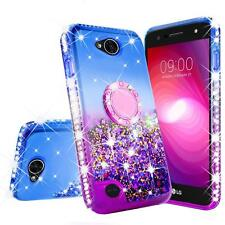 LG X Charge/Fiesta 2 Liquid Glitter Phone Case for Girls Women Ring Stand Purple