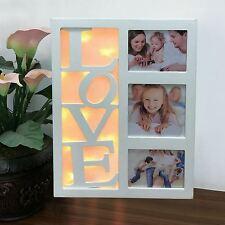 Sentik 10 LED Warm White Love Multi Photo Picture Aperture Frame Holds 3