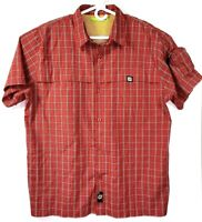 Mountain Dew Mens Size Large Button Up Pocket Outdoor Shirt Checkered Red