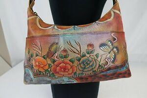 Anuschka Women's Leather Hand Painted Floral Crossbody Shoulder Bag Multicolor