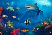 A1 | Underwater World Poster Art Print 60 x 90cm 180gsm Shark Fish Scuba #8080