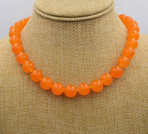 """Natural AAA 10mm Rare Orange South America Topaz Jade Round Gems Necklace 18"""""""