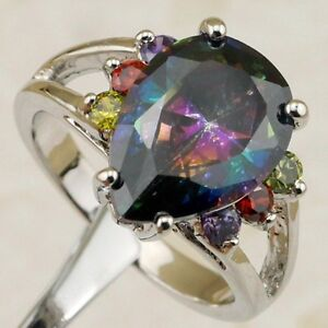 Size6 7 8 9 Beauty Multi-Color Rainbow Topaz Pear Jewelry Gold Filled Ring K1883