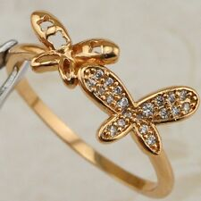 Size 8 Lovely Butterfly White CZ Gems Jewelry Yellow Gold Filled Ring R2519