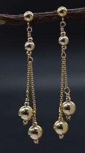 New 14K Solid Yellow Gold Round Double Bead Drop/Dangle Earrings