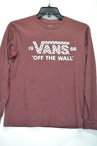 Vans Off The Wall Youth Large Burgundy Long Sleeve T-Shirt (C2)
