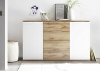 Kommode BERGAMO Sideboard Wohnzimmer Schlafzimmer Flur Wildeiche weiß