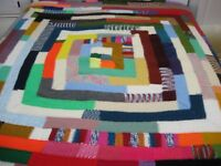 "Handmade Tunisian Crochet muticolor afghan 76"" X 74"""