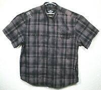 Harley Davidson Motorcycle Mens Gray Black Plaid Short Sleeve Shirt Size 3XL EUC