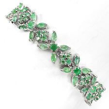 PRECIOUS!NATURAL RICH GREEN EMERALD BRAZIL STERLING 925 SILVER BRACELET 7.5""