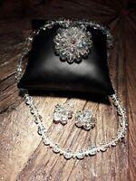 Vintage Aurora Borealis Cluster Bead Brooch/pin/ Necklace Clip Earrings Bundle