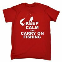 Keep Calm And Carry On Fishing MENS T-SHIRT Tee funny birthday gift fish present