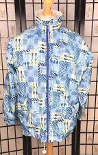 Sergio Tacchini Mens Jacket Abstract Print Vintage Rare White Blue Size 46 L XL