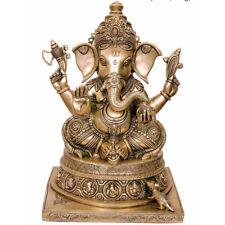 "Vintage Ganesha Statue Brass Elephant Lord Ganesh Idol Religious Gift Decor 13"""