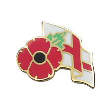 POPPY LAPEL BADGE WITH ENGLAND FLAG  - Remembrance Day UK, Poppy Day, UK Seller