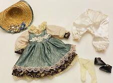 """VTG Doll Dress Outfit Floral Net Slip Straw Hat Fits 16"""" Dolls Shoes Socks"""