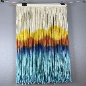 Large Mountain Sunset Dip Dye Cotton Rope Wall Hanging Art Ivory Blue Yellow