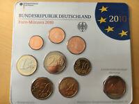 BRD KMS Kursmünzensatz Euro-Münzen 2010 Prägung F + 2 EUR Roland Bremen