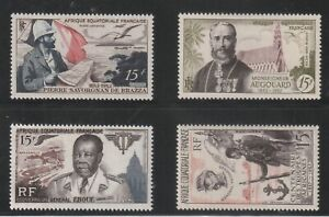 FRENCH EQUATORIAL AFRICA - FRENCH COLONIAL - 4 OLD STAMPS MH ( AEF 762 )