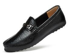 Mens Round Toe Slip On Wedding Dress Formal Leather Shoes Alligator Print Loafer