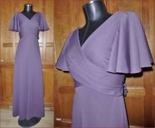 Vtg 70s Mauve Purple Jersey Empire Waist Boho Disco Evening Party Maxi DRESS