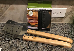 BAR B QUE 3 pc Set Cuisinart Cast Iron Smash Burger & Jim Beam Spatula/Fork NEW