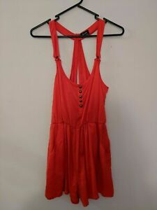 Bardot Women's Romper Playsuit Size 8 Red Racerback Pockets Buttons