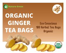Organic Ginger Tea Bags - Organic Natural Pure Ginger Tea (10, 25, 50 & 100 Pack