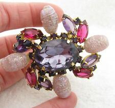 Vintage JULIANA Pink & Purple Prong Set Rhinestone Brooch Pin