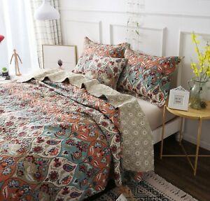 DaDa Bedding Vibrant Bohemian Garden Paisley Floral Quilt Coverlet Bedspread Set