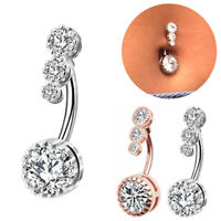 Sexy Dangling Navel Belly Button Rings Crystal Surgical Steel Piercing Jewelry
