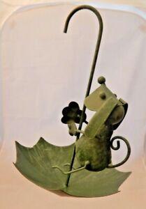Metal umbrella & dog bird feeder Rustic green Hanging garden display UK seller