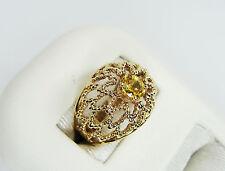 Estate 14k Yellow Gold Citrine Petal Filigree Dome Ring, .4ct Lemon Gold Citrine