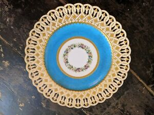 Stunning quality 1860s Minton porcelain turquoise scalloped gilt cabinet plate