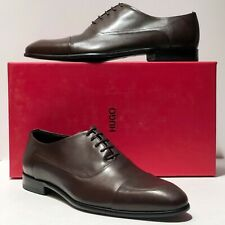 HUGO BOSS Brown Oxford 10 43 Men's Leather Fashion Dress Formal Shoes Casual