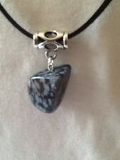 Snowflake Obsidian Nugget Gemstone Pendant & Black Necklace ~ Reiki Healing