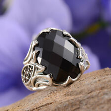 ARTISAN CRAFTED THAI BLACK SPINEL 12.41 CTS OVAL FACETED RING IN STERLING SILVER