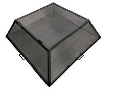 """28"""" x 28"""" Square Carbon Steel Fire Pit Screen with Hinged Access Door"""
