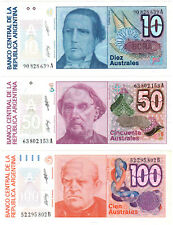 Argentina 10/50/100 Australes P#325b 326b & 327b (1985-91) 3 Banknote Set UNC