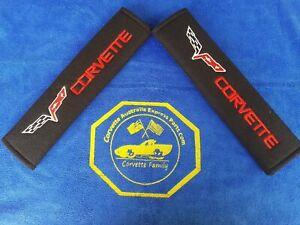 2pcs/set Universal Cotton Seat belt Shoulder Pads covers emblems for CORVETTE LE