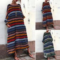 ZANZEA Women Batwing Stripe Long Maxi Dress Oversize Batwing Full Length Dress