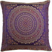 Mandala Cushion Covers Purple Banarasi Indian 38cm Indian