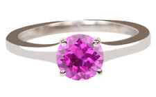 Round Shape Real 14KT White Gold Natural Pink Tourmaline 1.50CT Women's Ring