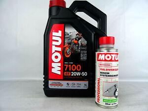 Motul 4Takt Motorradöl 7100 20W50 Öl 4Liter + Motul Kraftstoffreiniger 200ml