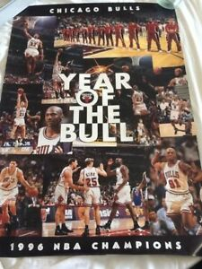"""1996 NBA CHAMPIONS official 1996 poster """"YEAR OF THE BULL"""" Chicago Bulls"""